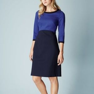 Boden Louise Ponte Blue Black Dress